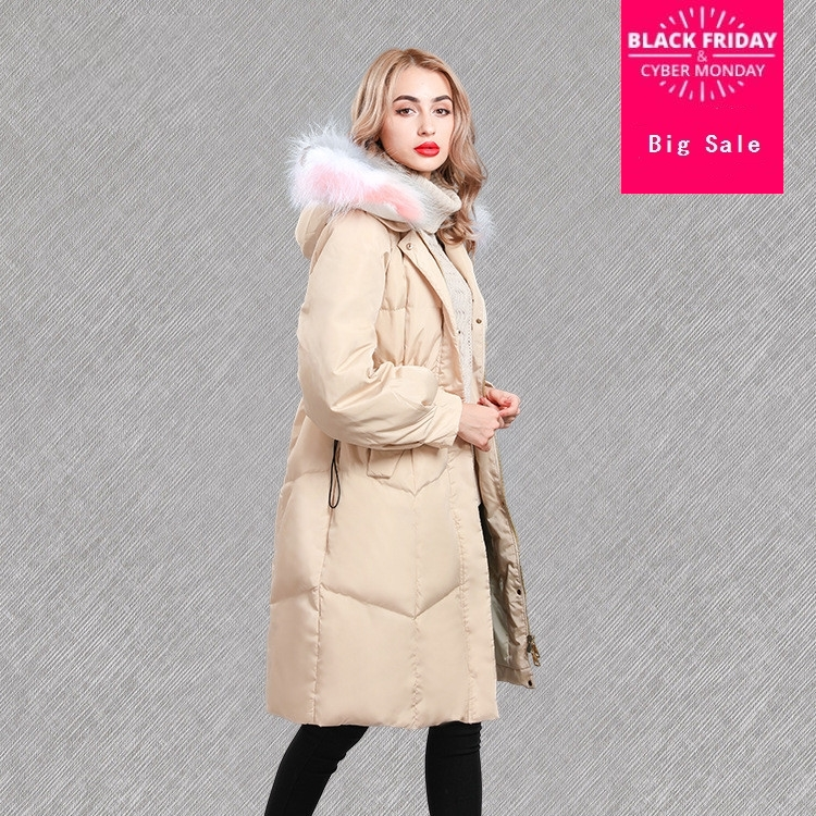 Real duck   down   fashion brand winter colorful real fur collar long   down   jacket female super long thicker hooded   down     coat   wq141