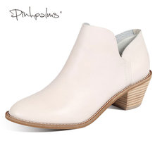 Pink Palms Women Shoes WHITE Autumn Boots Winter Boots Genuine Leather shoes high heels shoes Square Heel Casual Ankle Boots