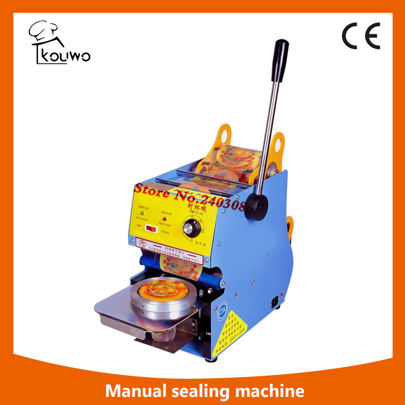 high quality hand press electric food processing machine plastic heat Yogurt Bubble tea juice cup sealing machine for sale kw f01s commercial use digital manual fruit juice food plastic cup sealing packing machine for beverage