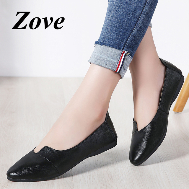 ZOVE Women Flat Shoes 2019 Spring Leather Ballet Flats Shoes Driving Moccasins Slip-on Loafers Woman Boat Shoes zapatillas mujer