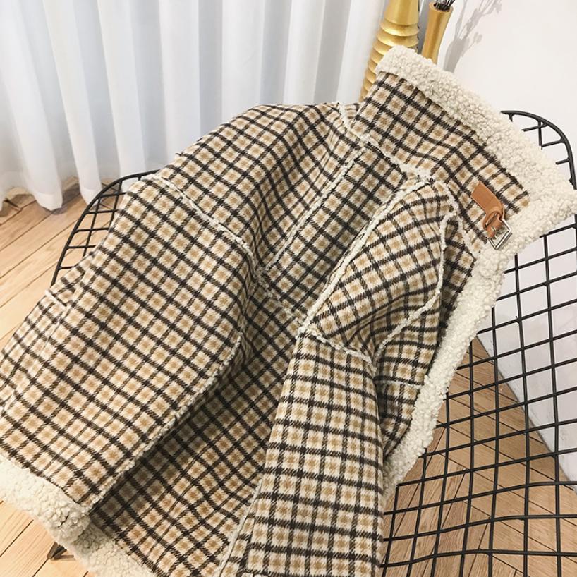 Manteau Hiver Gratuite Khaki Agneau Manches Plaid Veste Chaud Coton Épaississent À Spliced De Longues Occasionnel Fourrure Femmes Outwear Mode L1776 Livraison rnrRp