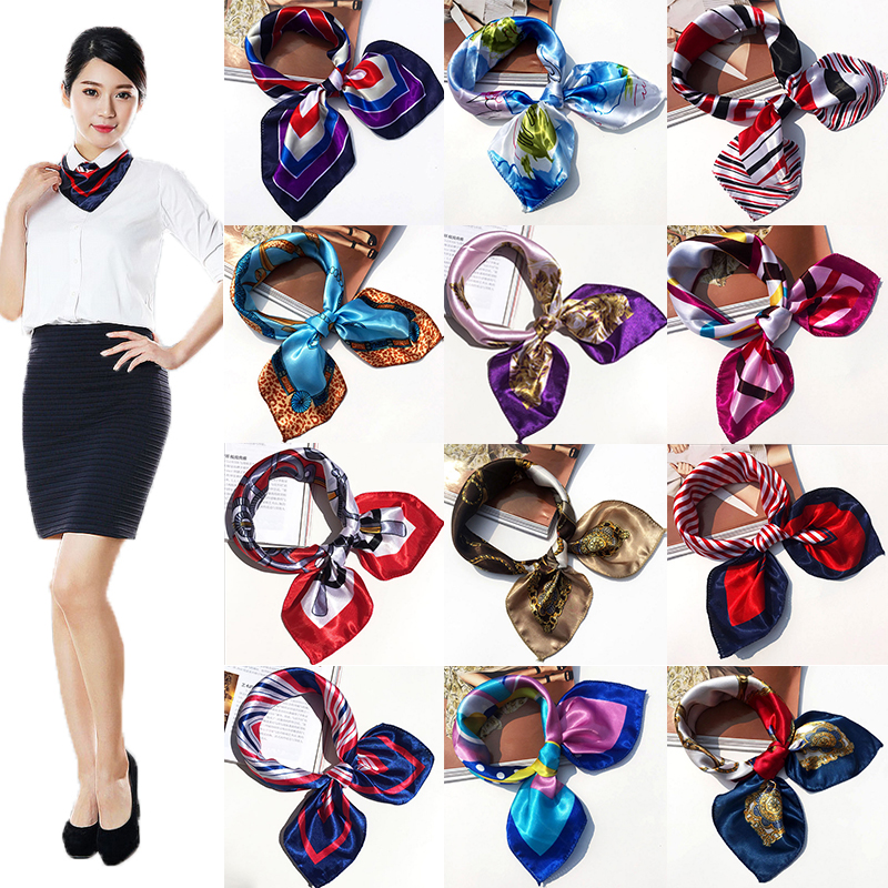 New Women Girls Korean Style Hotel Waiter Flight Attendants Business Printing Square Imitate Silk Scarf 50x50cm