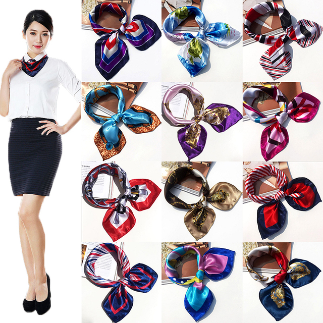 New Women Girls Korean Style Hotel Waiter Flight Attendants Business Printing Square Imitate Silk Scarf Scarves 50x50cm