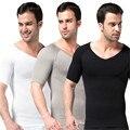 Homens slimming cintura cincher barriga aptidão camiseta com decote em v corpo shaper underwear shapewear bodysuit