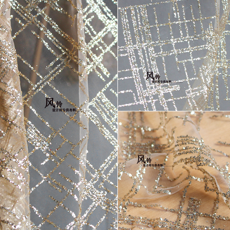 1 Yard champagne gold color elegant women evening dress lace fabric 2018 NEW glitter shinly fabric material!