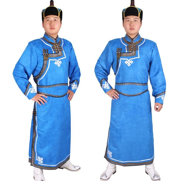 Ropa masculina de Mongolia con túnica de piel de venado de terciopelo azul ropa para adultos ropa de baile masculino