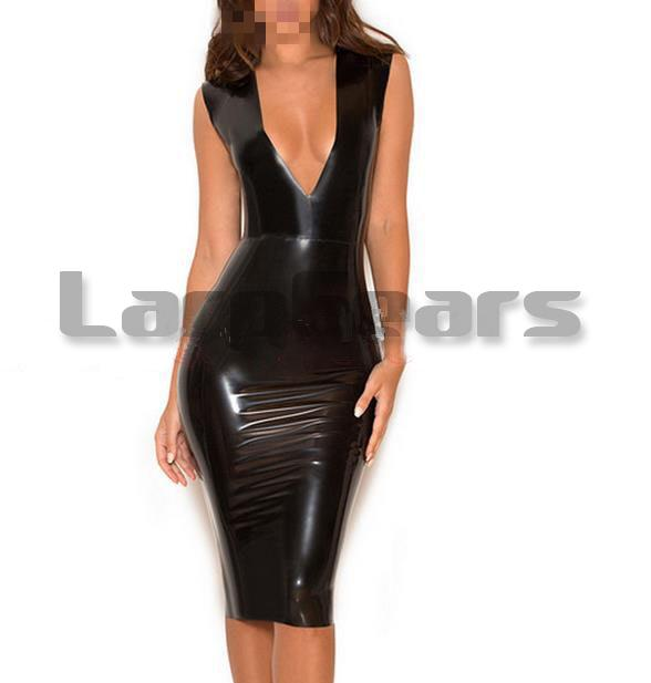 Femmes Sexy V Profond Robe En Latex Latex Caoutchouc Robe
