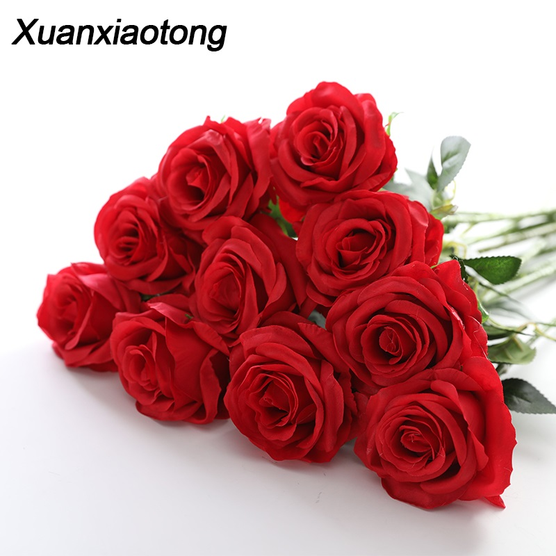 Xuanxiaotong 11pcs/lot Red Roses Artificial Flowers Bouquet for Wedding Centerpiece Decoration Home Garden