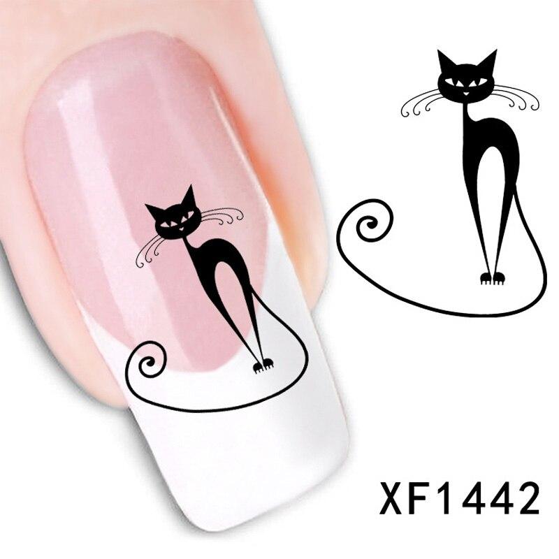 1 unids Estilo Marca de Agua 3D Diseño DIY Lindo gato negro Sugerencia Nail Art