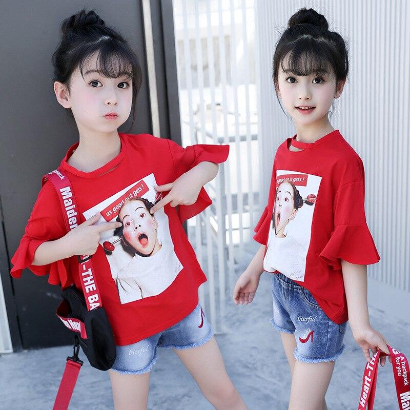 2018 Summer New Large Child Fashion Topy Girls Alphabet Print - Ubrania dziecięce - Zdjęcie 3