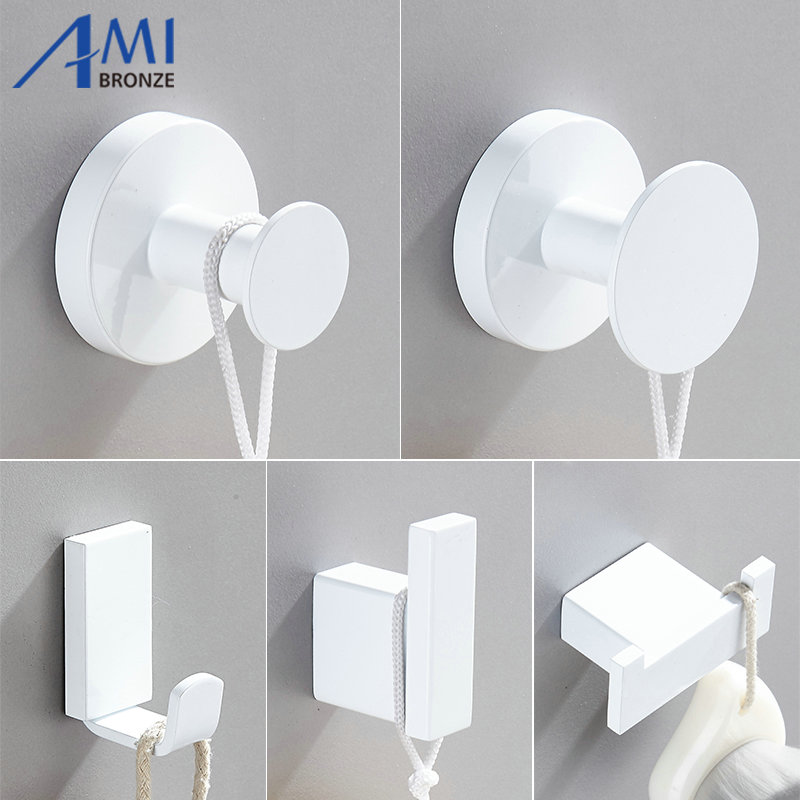 White Painted Stainless Steel Single Robe Hooks Wall Hang Mounted Towel Hook  Clothes Hook Bathroom Hardware