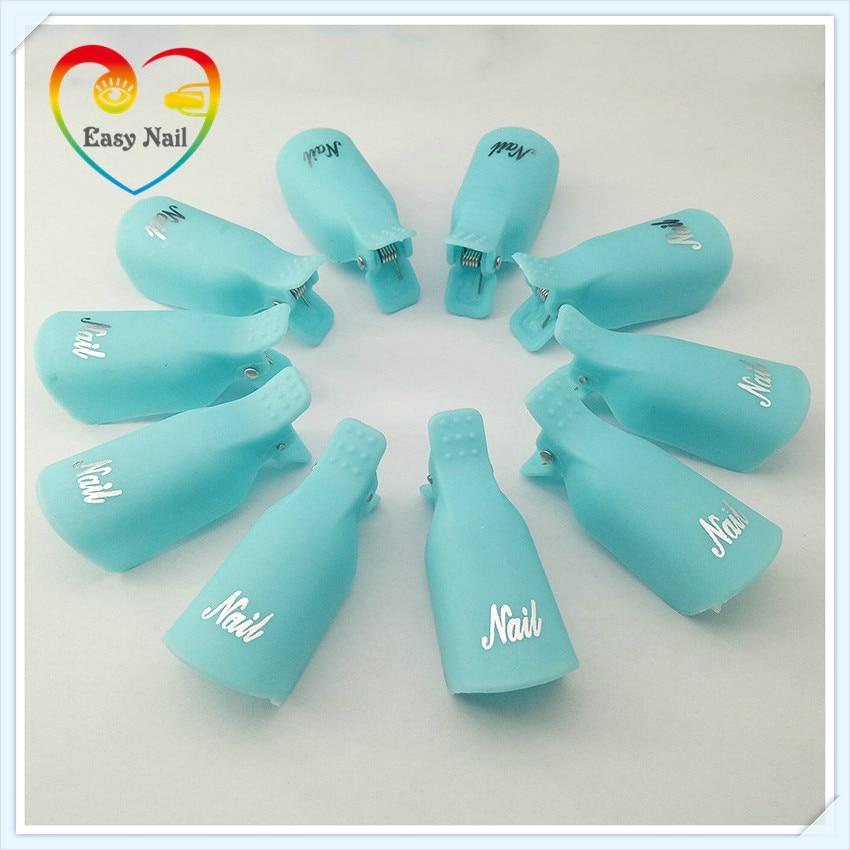 EasyNail New 10pcs Turq Nail Art Plastic Gel Nail Polish Remover Clips Soak Off Cap Clip