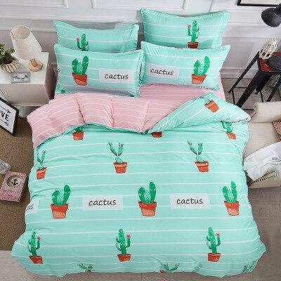 Nouveau Animal fruits fleurs ensembles de literie pour les filles mignon chien cactus motif imprimé couette housse de couette ensemble taies d'oreiller bleu - 3