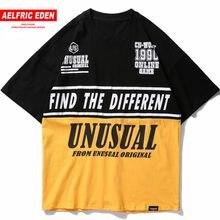 Aelfric 2018 Eden Color Patchwork bloque carta impresión T camisa camisetas  casuales Streetwear urbana hombre hombres de manga c. 06a9f27d8f8