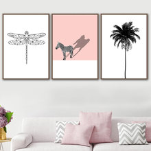 Minimalism Dragonfly Zebra Coconut Tree Wall Art Canvas Painting Nordic Posters And Prints Wall Pictures For Living Room Decor(China)