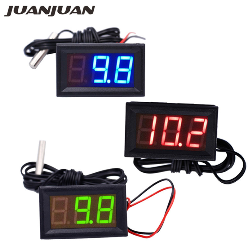 100pcs lot 50 110C Digital Thermometer tester With Temp Probe 12V Temperature LED Detector meter 30