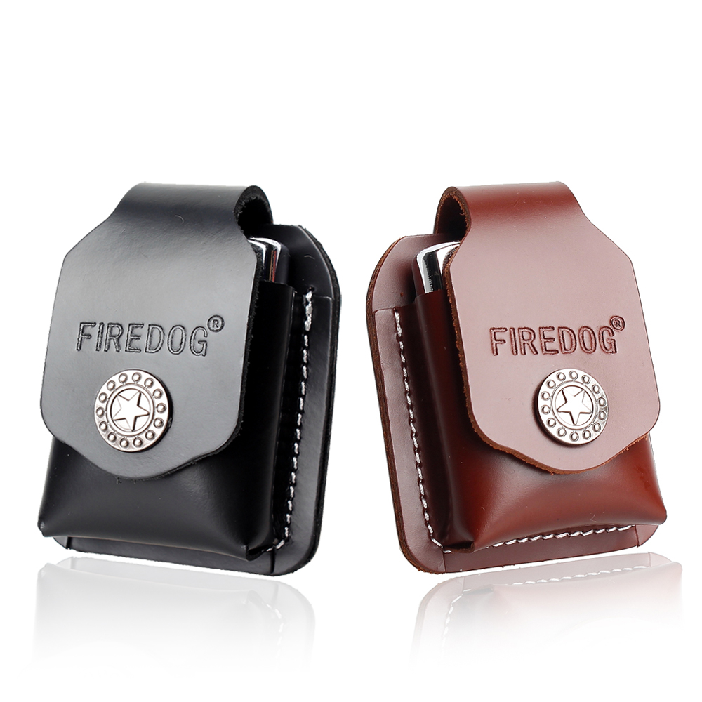 Firedog Cigarette Leather Lighter Case Leather Lighter Holder Pouch Box With Belt Loop For Zippo Dupont Lighter Case