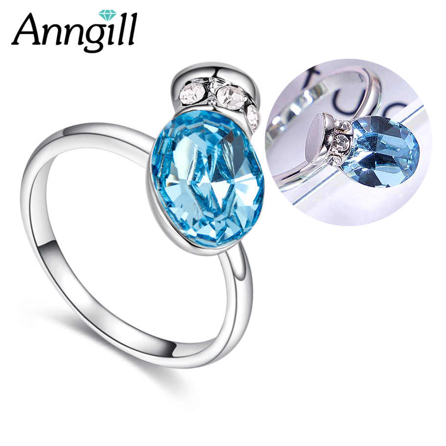 De Verdad tos Supresión  Anillo de compromiso de Swarovski con cristales de 100% de botella de Wish  tetera para mujer y niña, anillos de regalo de alta calidad para  mujer|Anillos| - AliExpress