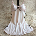 New Women Sexy Satin Nightgown Robe Sleeveless Night Dress Plus Size Nightdress Nighties Spaghetti Strap Mini Sleepwear M015