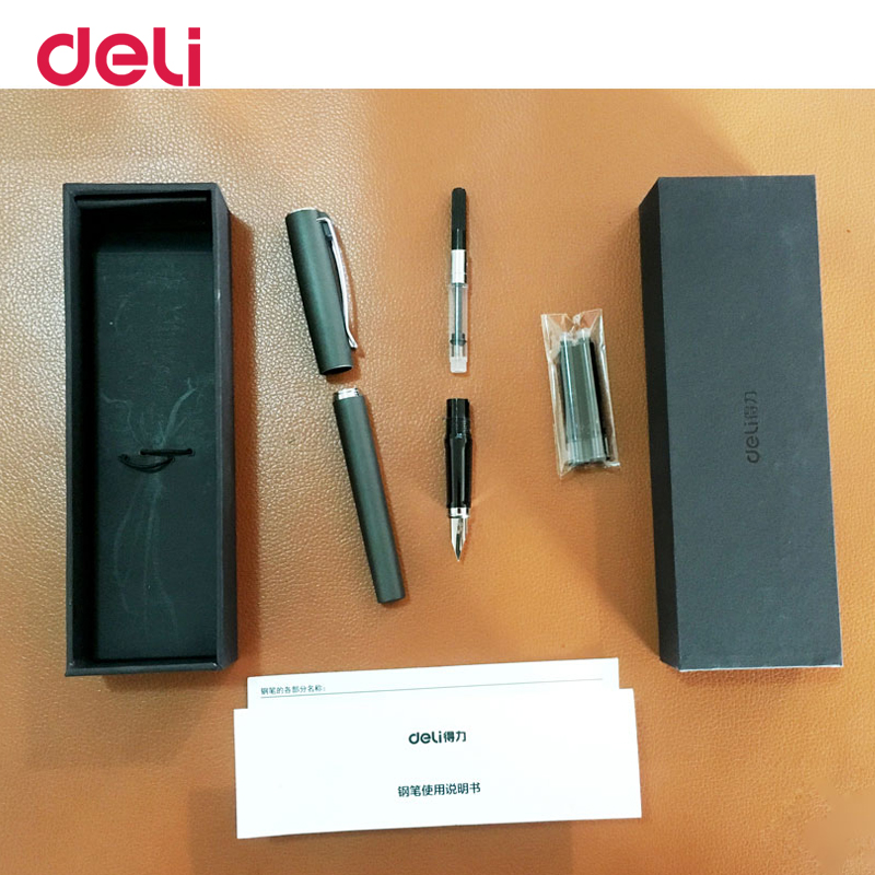 Deli quality metal luxury fountain ink pen with box for school office business writing supply elegant gift nib calligraphy pens authentic hero 9316 fountain pen ink pen iraurita nib 0 5mm calligraphy pen student stationery office business gift box set