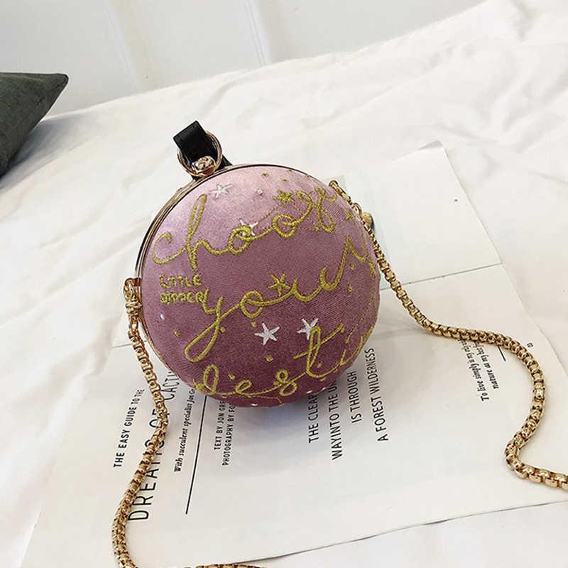 Женский Вечерний Клатч круглой формы, из искусственной замши, на цепочке, сумочка на плечо, ZD1114