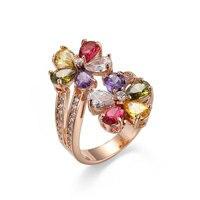 Чистое персонализированное серебряное кольцо ручной работы и выгравированное имя семь цветных цветов циркониевое кольцо на заказ