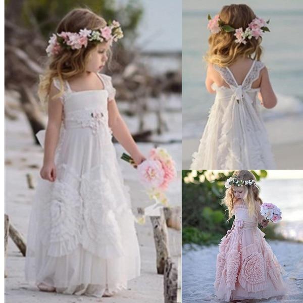 מודרני 2019 פרח ילדה שמלות לחתונה לבן מאובק ורוד ילדה קטנה Boho ילדים ראשית הקודש שמלת תחרות שמלת 3D פרחוני