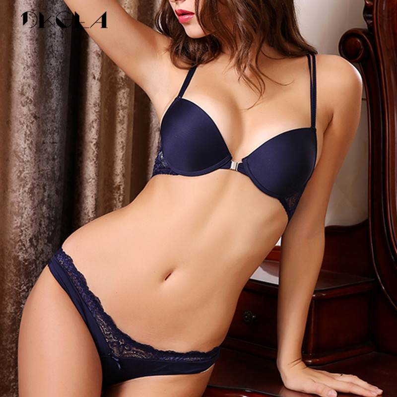 NEW Front Closure Bra And Panties Sets Brand Thick Push-up Bra Lingerie Set Sexy Y-line Straps Women Lace Underwear Set Blue