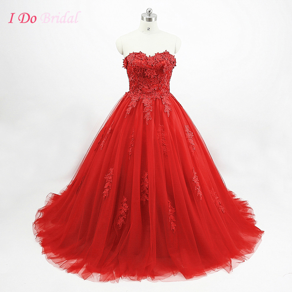 Cheap red wedding dress ball gown plus size real photo for Red wedding dresses cheap