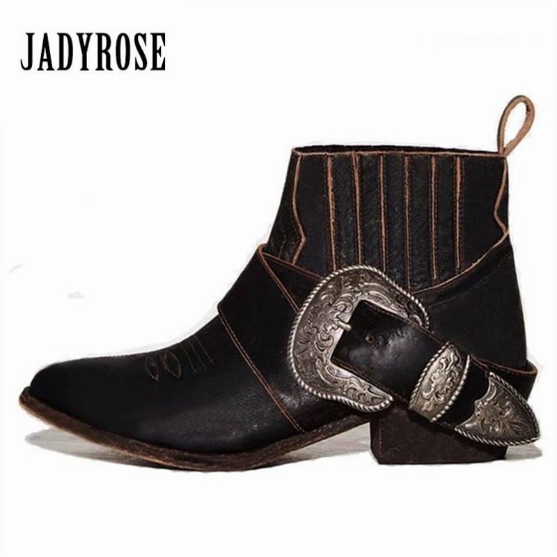 Jady Rose Retro Handmade Women Ankle Boots Genuine Leather Slip On Short Botas Mujer Buckles Autumn Female Platform Martin Boot jady rose vintage flat ankle boots for women side zipper straps genuine leather short botas female platform martin boots