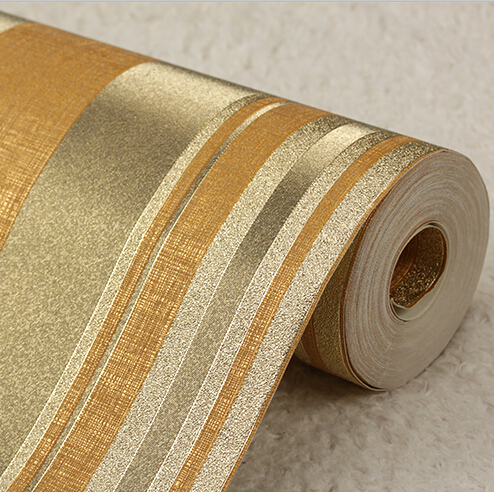 Buy modern luxury gold striped wallpaper for Waterproof wallpaper for home