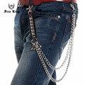 Doblete Cuban Link hebilla cuadrada remaches PU conjunta de los pantalones vaqueros del estilo punky hombres cartera de moda llavero envío rey J60