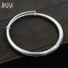 JINSE Love Gift Double Fish Lotus Carved Bangles 100% S999 Sterling Silver Bracelet Bangle For Men Or Women Fine Jewelry Hot uglyless real 999 silver fine jewelry women simple fashion thick bangles ethnic fish open bangle handmade engraved lotus bijoux