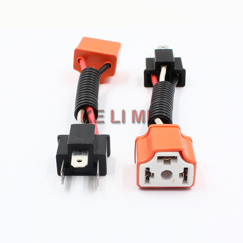 2x H4/9003/HB2 Heavy Duty Male To Female Ceramic Socket Plug Connectors Adaptor For Car Headlight HID LED Extension Adapter