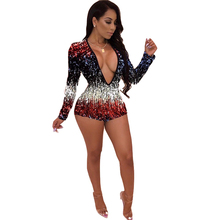 Colorful Sequins Deep V Neck Playsuit Women Sexy Long Sleeve Night Club Party Jumpsuit
