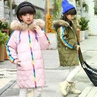 Children Girls Boys Down Jackets Winter Hoodie Coat Kids Rainbow Stripe Fur Keep Warm Outwear Student 7-14 Y Pink Black Gray Red
