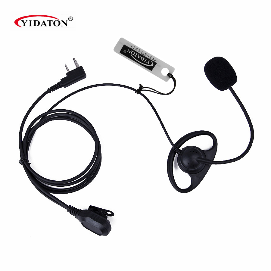 1PC D-Shape PTT Earpiece Headphone With Boom Mic For Kenwood Baofeng Retevis TYT Radio Wholesale Earphone