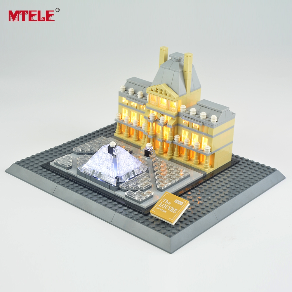 MTELE Brand LED Light Up Kit för arkitektur Louvre Building Block Lighting Set Kompatibel med Lego 21024