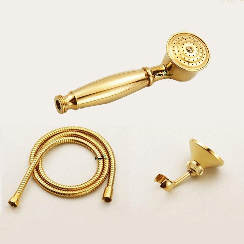 Water Saving Shower Heads >> Brass PVD TI Golden Telephone Hand Held Shower Head Antique Gold Copper Hand held Sprayer Water ...