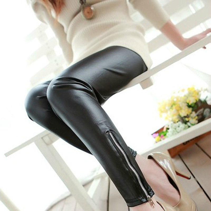 CUHAKCI Women Slim High Elastic Pants Leather Leggings Zipper Korean Classic Black Legging Slim Faux Leather Leggins