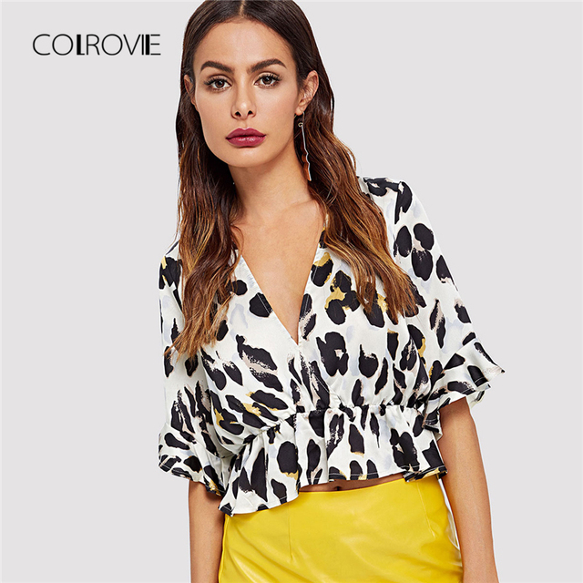 ad663d499d17 COLROVIE Deep V Neck Leopard Print Ruffle Blouse Shirt 2018 Summer New Sexy Shirt  Short Sleeve
