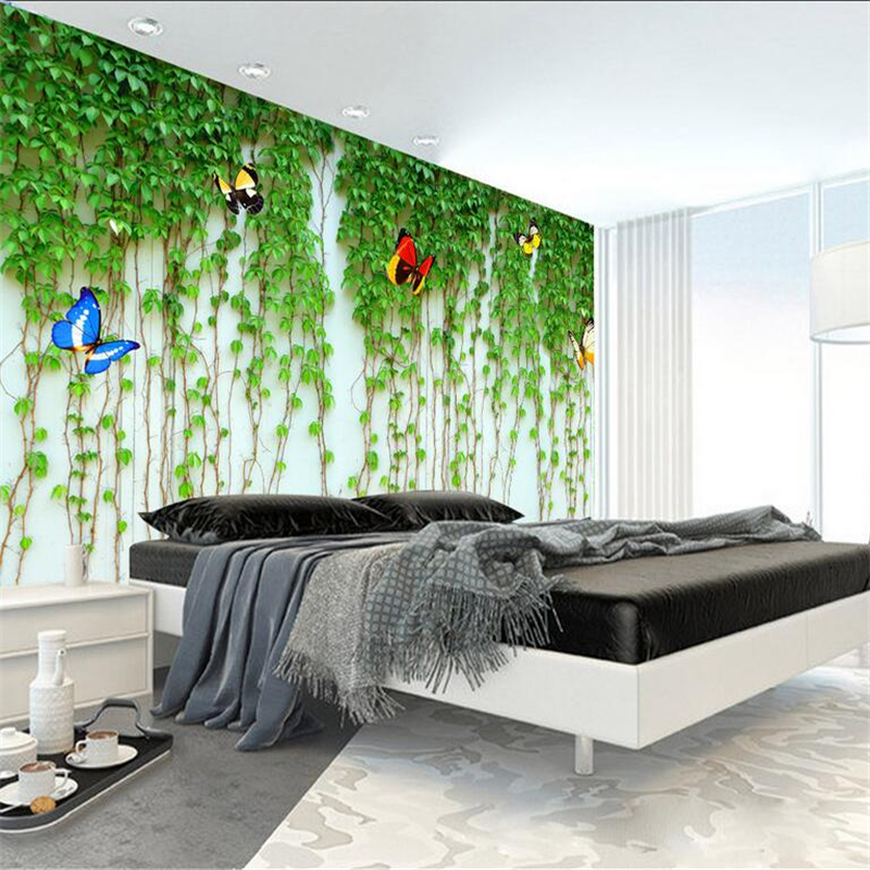 Custom Brick Wallpaper 3d Green Leaves Flower Vine and Butterfly 3d Wall Paper Boys and Girls Children's Bedroom 3d Wall Mural double layer luminous 3d butterfly wall stickers
