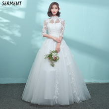 Wedding Dress 2019 New Summer Bride Married Korean Big Size Princess Dreamy Slim Stand Collar Wholesale