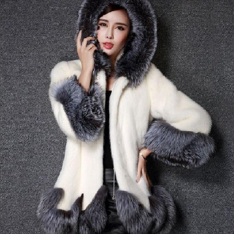 2018 Fourrure Renard Veste Blanc Survêtement Fluffy Épaisse Noir qfwq0rxCU