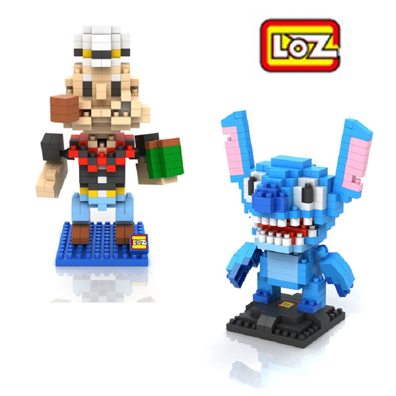 2pcs/lot LOZ Diamond Building Blocks Lilo & Stitch / Popeye Model Carton High Quality 3D Assemble Toys Children Education Toys