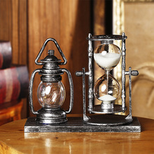 Antique Home Decor Lantern Sandglass Model Miniature Resin Night Light Craft Ornament Study Kids Best Gifts