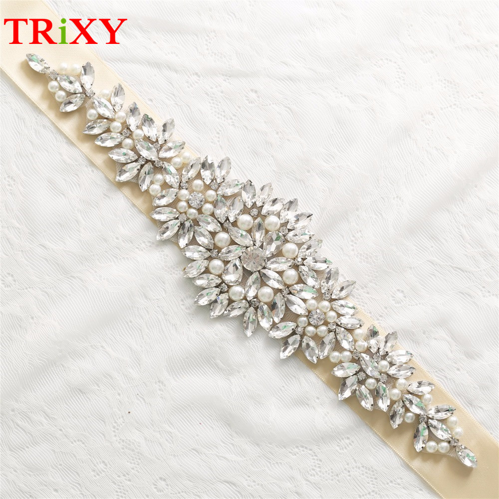 Trixy B102 Rhinestones Beaded Thin Wedding Belts Wedding Sashes Handmade Crystal Rhinestone Bridal Belts Bridal Sashes Moderate Price Bridal Blets