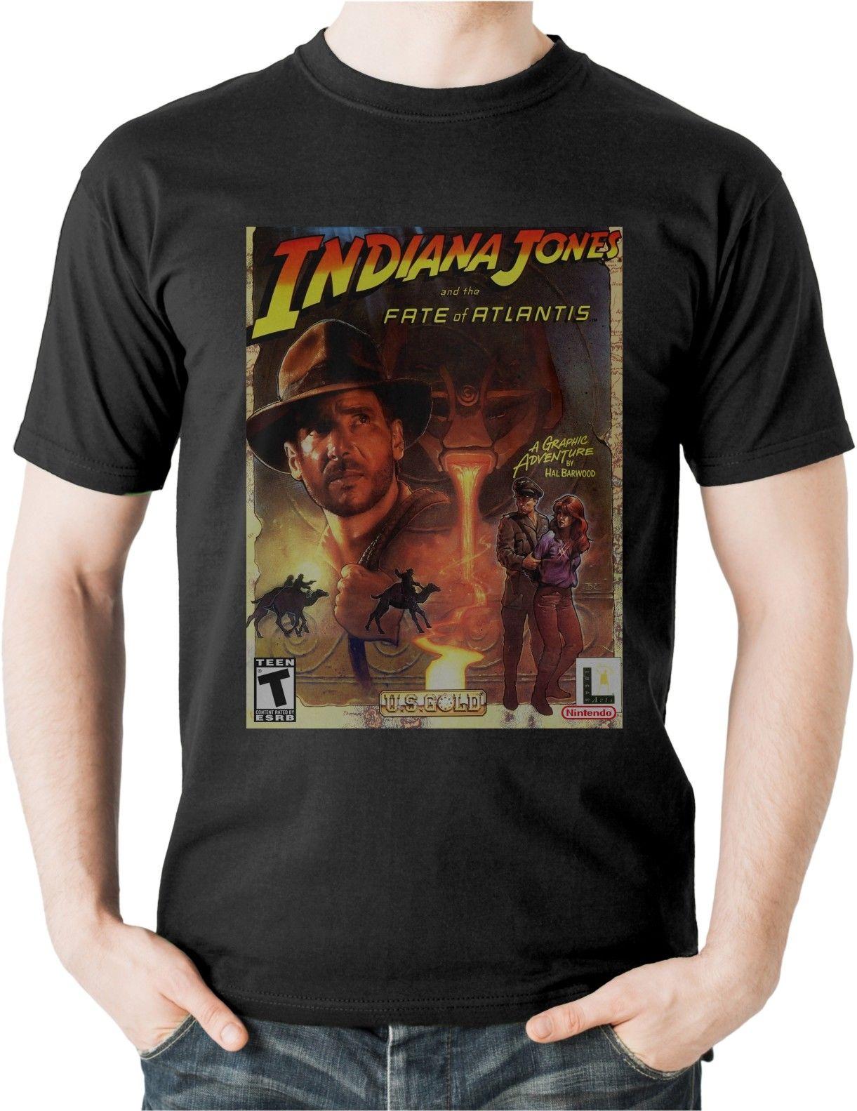 Индиана Джонс и судьба Atlantis футболка приключенческая игра Lucas искусств футболка 3829