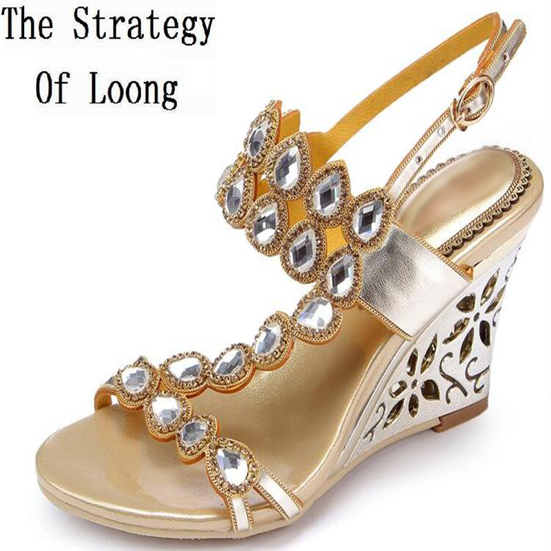 Women 2016 Summer New Rhinestone Rome Style Fretwork Heel Fashion Sandals Sumptuous Wedges Big Small Size 33 43 Sexy Sandals 2016 summer fashion crystal mid heel wedges buckle women sandals new camel women shoes comfortable stylish rhinestone sandals