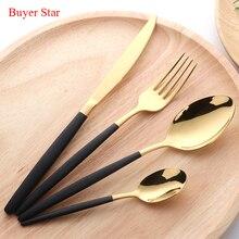 Dinnerware Set 18/0 Stainless Steel Cutlery 4 Pieces Golden Knife Fork Tableware Black Cutleries Western Food